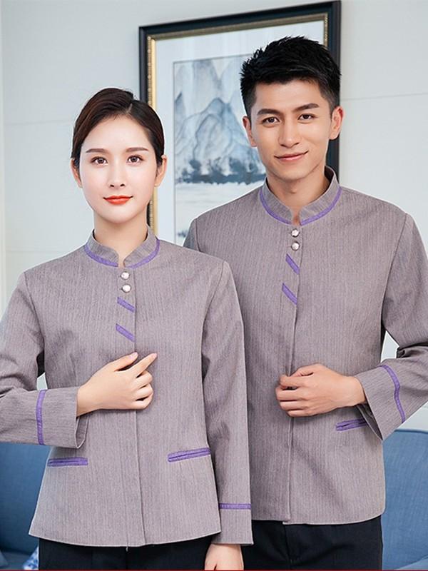 紫色条纹保洁服