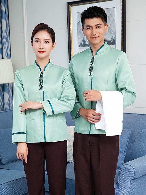 绿色中式保洁服