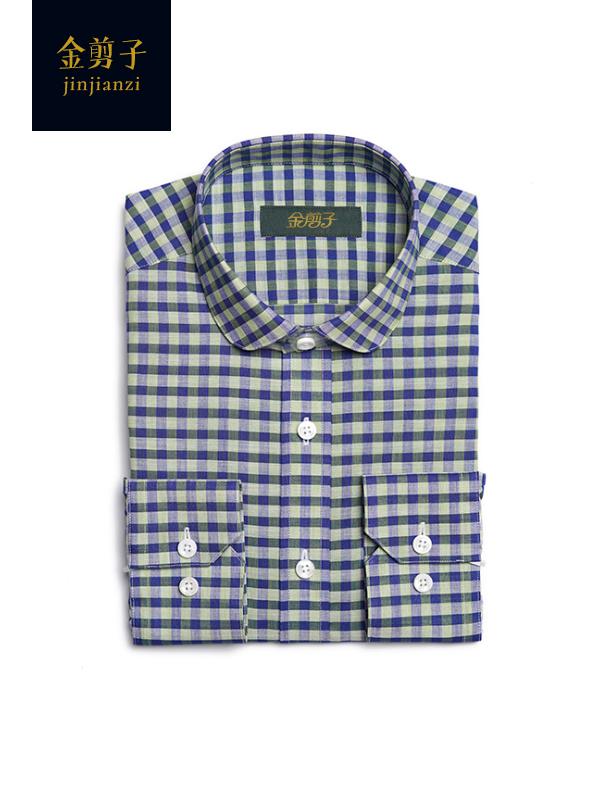 男士小方格休闲衬衫