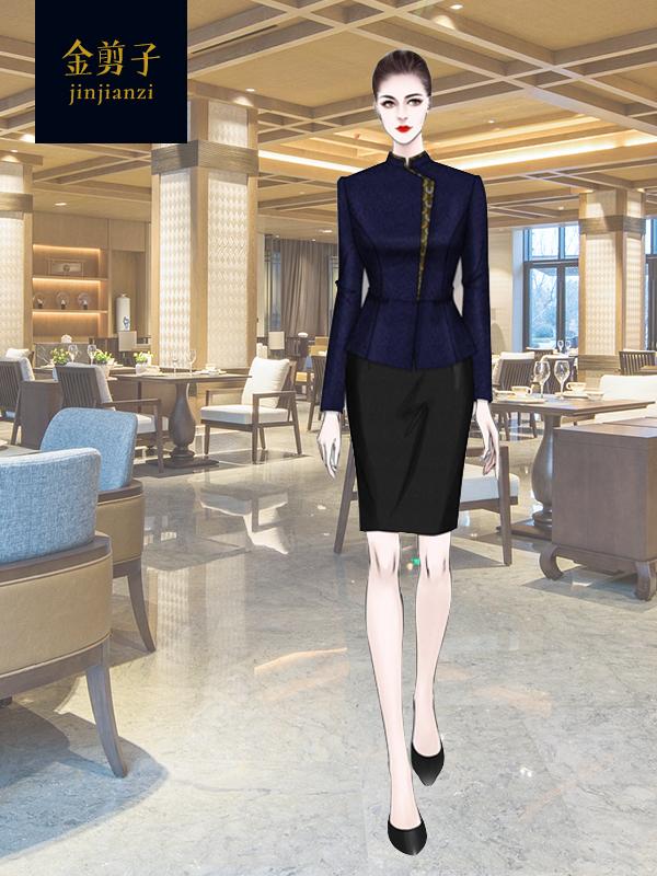 中式酒店餐饮服务员工作服