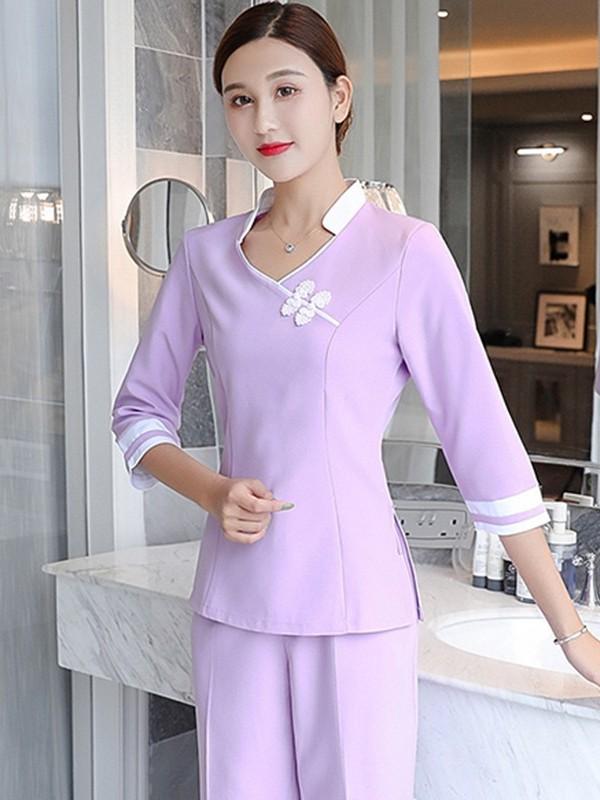 紫色美容院工作服