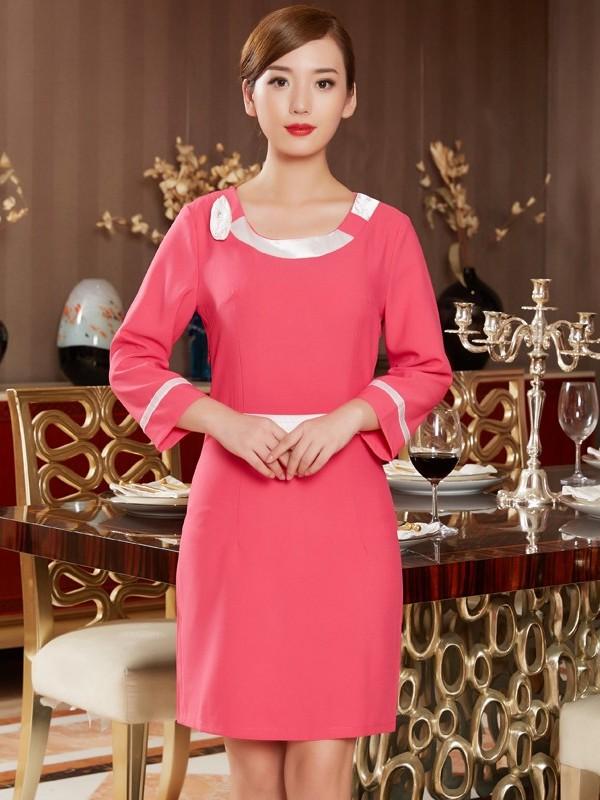 红色美容院连衣裙