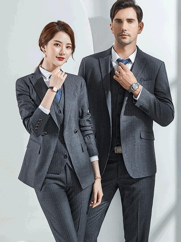 灰色条纹西服职业装