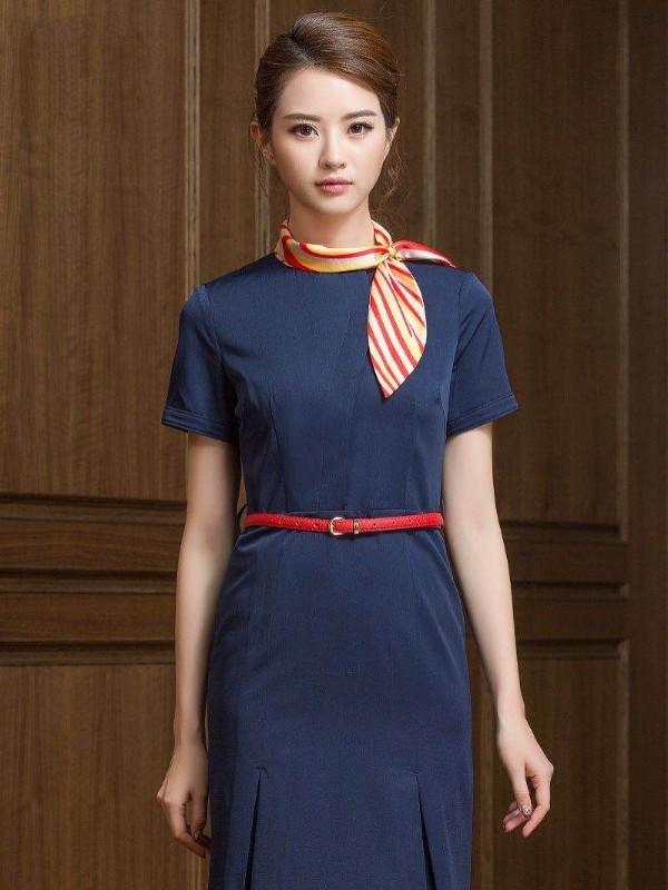 藏青色空姐连衣裙